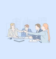 Business teamwork negotiation agreement concept vector