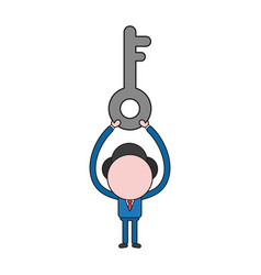 Businessman character holding up key color and vector
