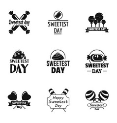 candy sweetest day logo set simple style vector image