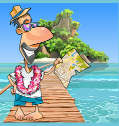 cartoon male tourist standing with a map at the vector image