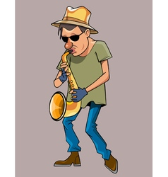 Cartoon man with a hat performs saxophone vector