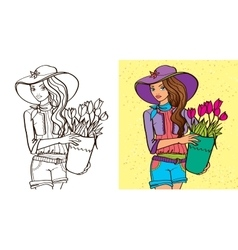 Colouring Book Of Girl Hold Flowers vector