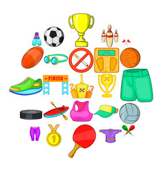 Competitive game icons set cartoon style vector
