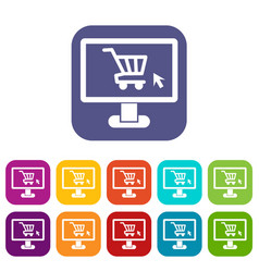 Computer monitor with shopping cart icons set vector