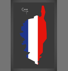 Corse map with french national flag vector
