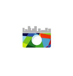 creative abstract camera building symbol logo vector image