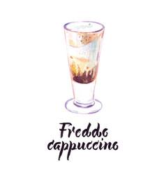 Cup freddo cappuccino vector