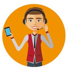 Customer service call center operator on duty vector