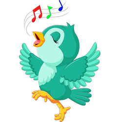 Cute bird singing vector