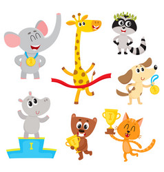 cute little animal characters champions winners vector image