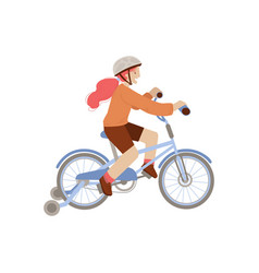 cute teen or pre-teen girl ride a 4 wheel bike in vector image