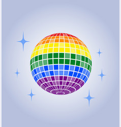 Disco ball icon lgbt rainbow pride vector