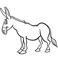 Farm donkey cartoon for coloring book vector