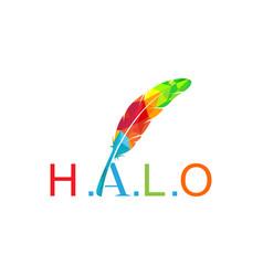 Feather colorful logo design vector