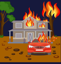 fire banner realistic burning house red vector image