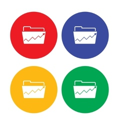 Flat simple folder icon with raising graph vector image