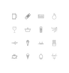 Food and drink linear thin icons set outlined vector