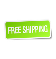 Free shipping green square sticker vector
