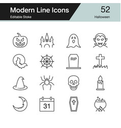 halloween icons modern line design set 52 for vector image
