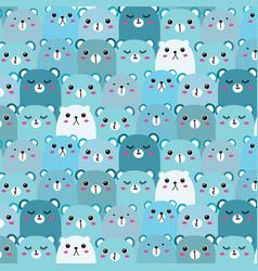 hand drawn bears pattern background fun doodle vector image