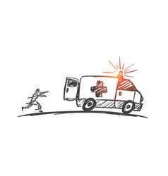 hand drawn man trying to catch up ambulance car vector image