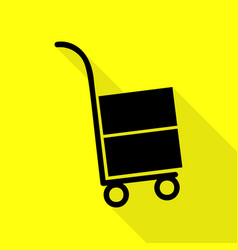 hand truck sign black icon with flat style shadow vector image