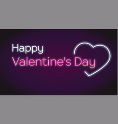 happy valentines s day neon text on dark vector image