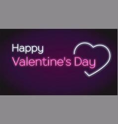 happy valentines s day neon text on dark vector image