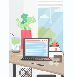 home office interior poster design template vector image