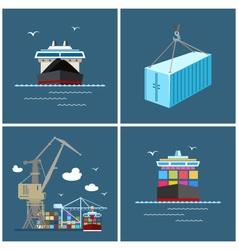 International Freight Transportation Cargo Icons vector image