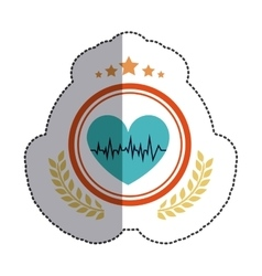 Isolated heart and pulse design vector