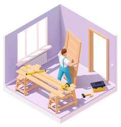 Isometric worker at door installation vector