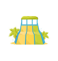 Large water slide with three lanes green palm vector