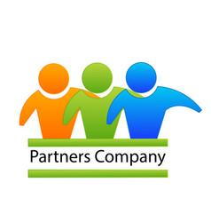 Logo teamwork partnes hug business people vector