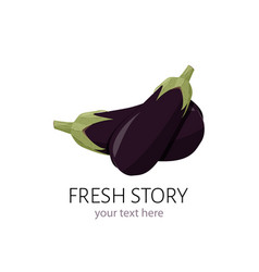 Logo with eggplant simple sign for market vector