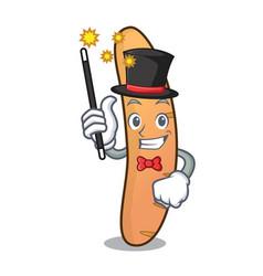 Magician baguette mascot cartoon style vector