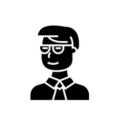 man student looking on side with glasses icon vector image