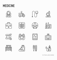 medicine thin line icons set vector image