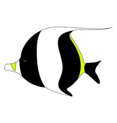 Moorish idol fish on white background vector