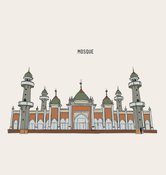 muslim mosque hand draw sketch vector image