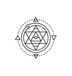 Mystical ornament line icon isolated vector