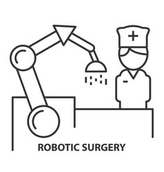 Nurse on robotic surgery vector