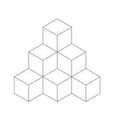 Pyramid of cubes flat outline vector
