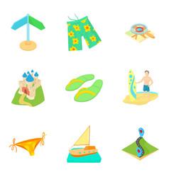 Reconstruction icons set cartoon style vector