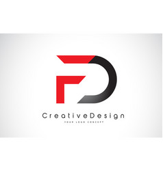 Red and black fd f d letter logo design creative vector