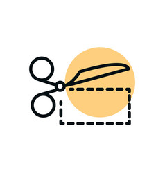 scissors with a dashed shopping line dot color vector image