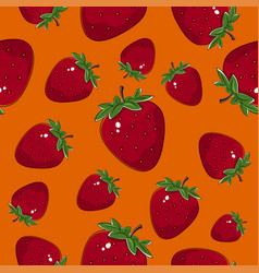 seamless pattern strawberry on orange background vector image