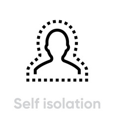 Self isolation epidemic icon editable line vector