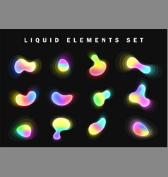set bright glow gradient liquid elements vector image