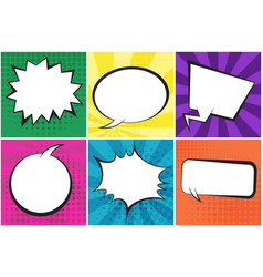 set of bright retro comic speech bubbles vector image
